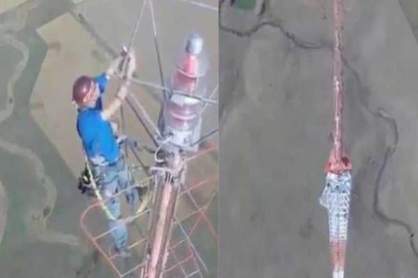 Άντρας αλλάζει μια λάμπα μισό χιλιόμετρο από τη γη! Ο μισθός του; 20.000 δολάρια! (video)