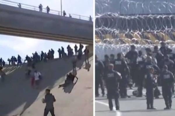 Πανικός στο Μεξικό: Εκατοντάδες μετανάστες σκαρφάλωσαν το φράχτη με ΗΠΑ