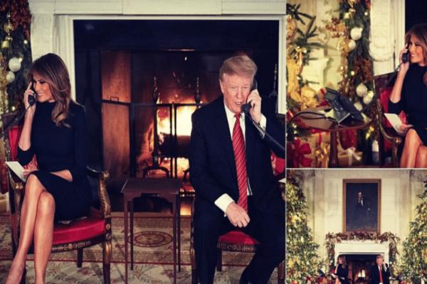 Οι χριστουγεννιάτικες ευχές της Μελάνια Τραμπ με βαθύ μπορντό ψηλοτάκουνες γόβες!