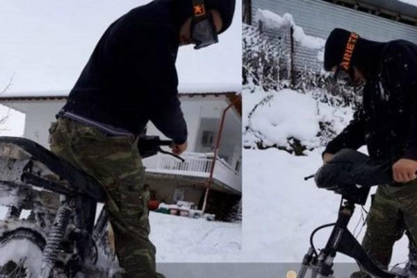 Καρδίτσα: Η πατέντα με τις βίδες για να κυκλοφορούν τα μηχανάκια στο χιόνι (video)