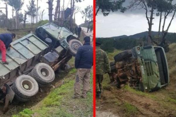 Συναγερμός στη Χίο: Ανετράπη στρατιωτικό όχημα!