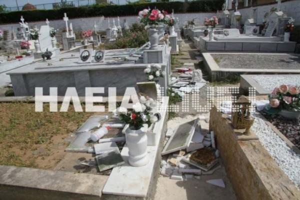 Εικόνες καταστροφής στην Ηλεία: Οι σεισμοί διέλυσαν το νεκροταφείο της Ανδραβίδας!