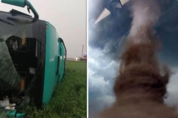 Βίντεο σοκ: Ανεμοστρόβιλος «εκτινάσσει» λεωφορείο με 40 άτομα!