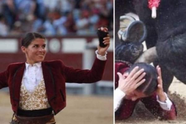 Γαλλίδα ταυρομάχος ποζάρει περήφανη με τα κομμένα αυτιά του ταύρου και δευτερόλεπτα μετά παραλίγο θα έχανε την ζωή της…