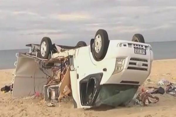 Χαλκιδική: Το τροχόσπιτο στο οποίο έχασαν τη ζωή τους 2 άτομα! (video)