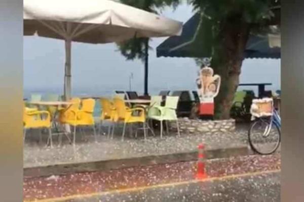 Τρελαμένος ο καιρός: Χαμός από χαλάζι στο Πήλιo!