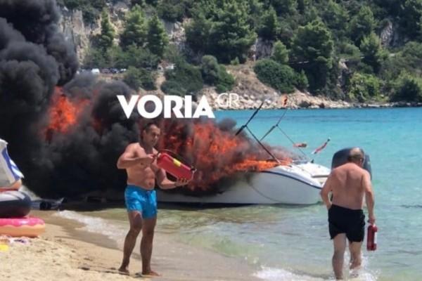 Συναγερμός στη Χαλκιδική: Έκρηξη σε σκάφος σε παραλία! (Video)