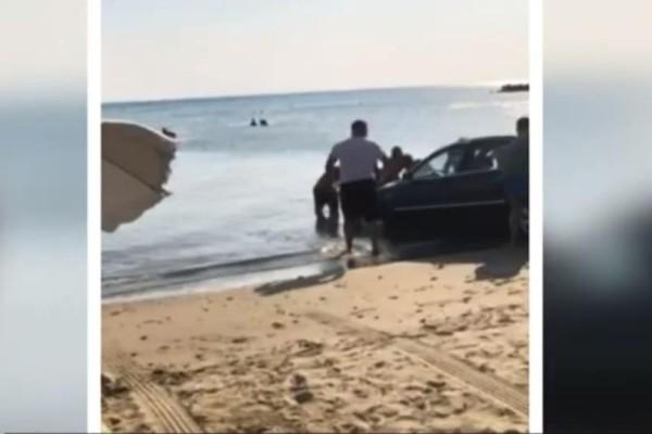 Σοκ στη Ναυπάκτο: Αυτοκίνητο έπεσε σε παραλία! Πανικόβλητοι οι λουόμενοι! (Video)