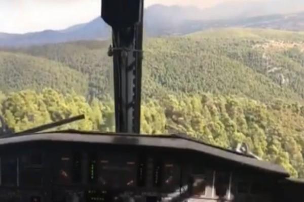 Φωτιά στην Εύβοια: Δείτε βίντεο με την κατάσβεση μέσα από καναντέρ!