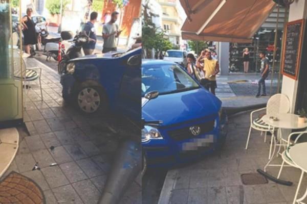 Πανικός στη Κρήτη: Αυτοκίνητο έπεσε σε κολώνα και σταμάτησε λίγο πριν