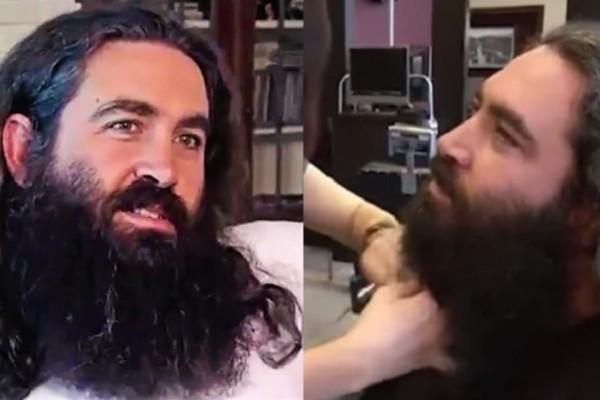 Απόφάσισε να ξυριστεί και να κουρευτεί μετά από χρόνια, έγινε κούκλος και δεν τον αναγνώριζε ούτε η γυναίκα του!