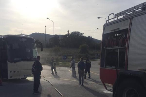 Λεωφορείο του ΚΤΕΛ έπιασε φωτιά εν κινήσει στην Έδεσσα!