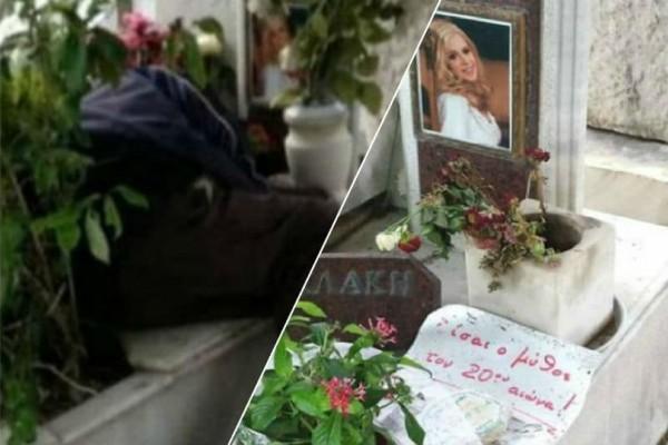 Αλίκη Βουγιουκλάκη: Αυτός είναι ο μαυροφορεμένος άντρας που κοιμάται πάνω στον τάφο της!