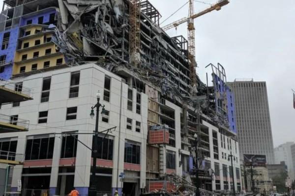 Ξενοδοχείο υπό κατασκευή στη Νέα Ορλεάνη κατέρρευσε μπροστά στα έκπληκτα μάτια περαστικών!