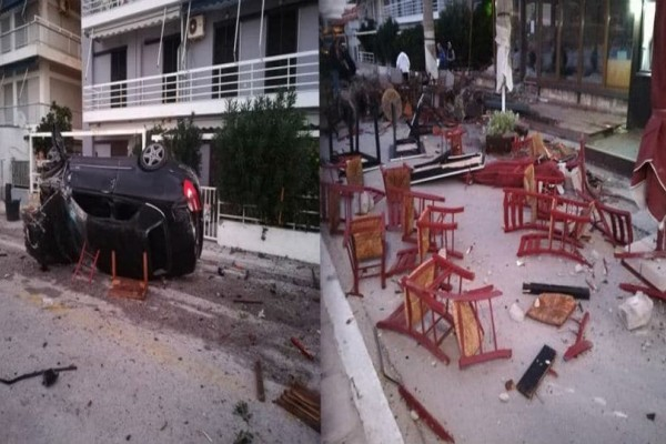Λουτράκι: Αυτοκίνητο κατέστρεψε 3 καταστήματα και μια κολόνα της ΔΕΗ!