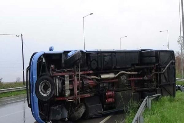 Σοβαρό τροχαίο στην Ημαθία: Εξετράπη λεωφορείο! (photo-video)