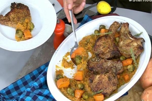 Χοιρινές μπριζόλες με γλυκοπατάτες και λαχανάκια Βρυξελλών! (Video)