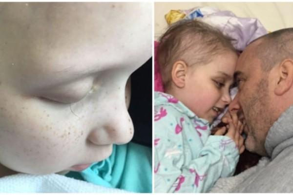 Ένας μπαμπάς έβγαλε φωτογραφία την τελευταία βλεφαρίδα της κορούλας του που έκανε χημιοθεραπείες...Ραγίζει καρδιές!