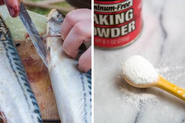 Παίρνει μαγειρική σόδα και την ρίχνει μέσα στα εντόσθια του ψαριού! Απίστευτο!