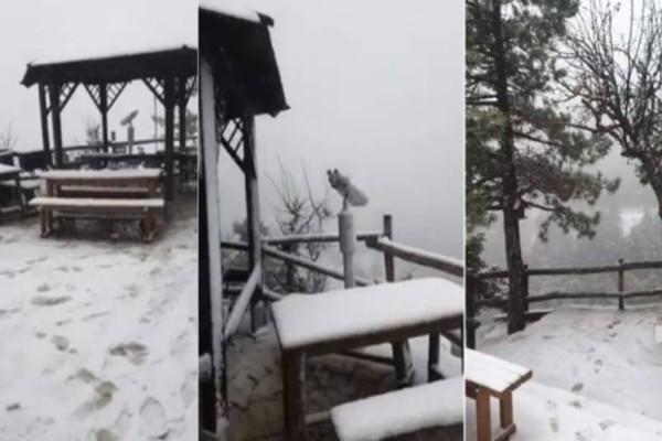 Συνεχίζεται η χιονόπτωση στην Πάρνηθα και οι εικόνες που φτάνουν είναι ονειρεμένες!