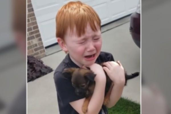 Αυτό το αγοράκι μόλις παίρνει αγκαλιά αυτό το κουταβάκι ξεσπάει σε κλάματα - Ο λόγος; Θα σας συγκινήσει!