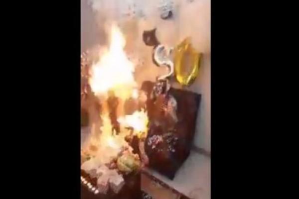 Τρομακτικό: Κοπέλα πήγε να σβήσει την τούρτα και πήρε φωτιά ολόκληρη! (Video)