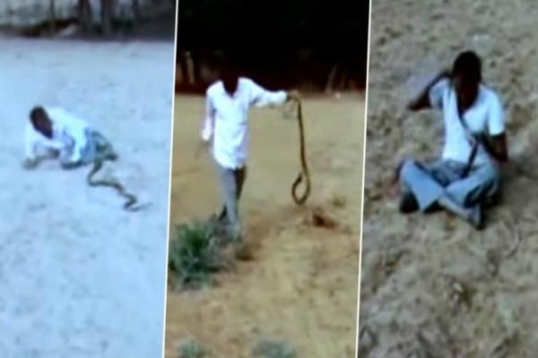 Τρομακτικό βίντεο: Μεθυσμένος άνδρας παλεύει με κόμπρα με τη συνέχεια να... ανατριχιάζει!