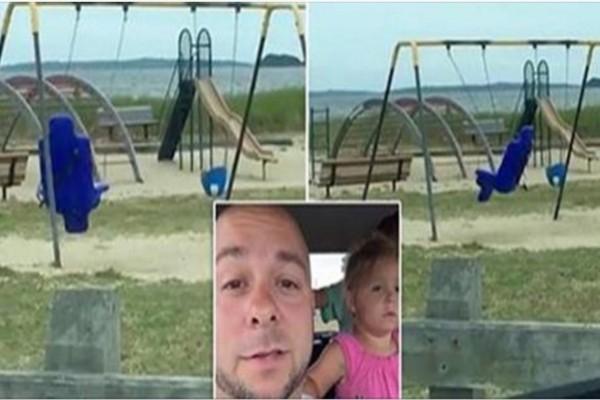 Η κούνια σε μια παιδική χαρά άρχισε να κουνιέται...Αυτό που κατέγραψε η κάμερα της οικογένειας ανατριχιάζει!