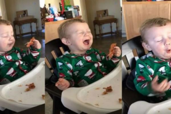 Μωρό τρώει μπέικον για πρώτη φορά. Η αντίδρασή του; Επική!