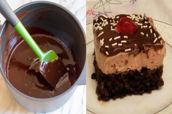 Εύκολη συνταγή για αφράτη πάστα σοκολατίνα με μους πραλίνας και γκανάζ σοκολάτας, ιδανική για κάθε περίσταση