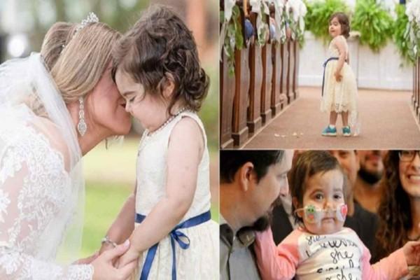 3χρονο κοριτσάκι νίκησε τον καρκίνο και έγινε παρανυφάκι στον γάμο της δότριας μυελού των οστών της