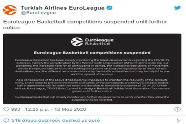 Οριστική διακοπή αποφάσισε η Euroleague