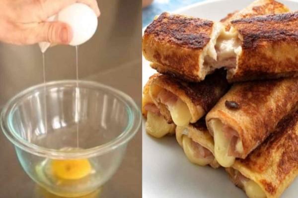 Τέλειες αυγοφέτες ρολό με τυρί του τοστ και ζαμπόν, έτοιμες σε 5 λεπτά