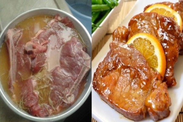 Ζουμερές χοιρινές μπριζόλες μαριναρισμένες με μουστάρδα, πορτοκάλι και μέλι