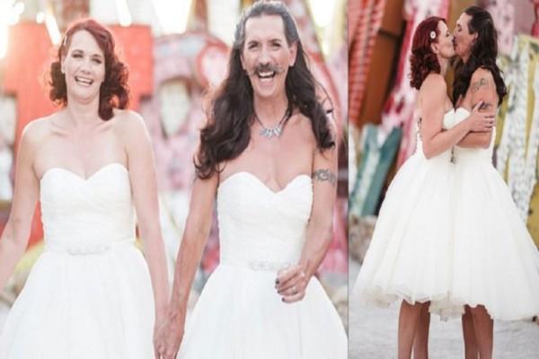 Γαμπρός αντί για κουστούμι φόρεσε το ίδιο νυφικό με την γυναίκα του στον γάμο τους - Η αντίδρασή της θα σας φρικάρει