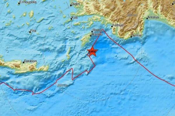 Δυνατός σεισμός στη Ρόδο - Μόλις 600 μέτρα το εστιακό βάθος