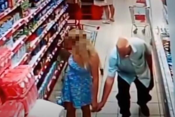 Παππούς φωτογράφισε το εσώρουχο γυναίκας σε σούπερ μάρκετ - Το βίντεο από την κάμερα ασφαλείας σοκάρει