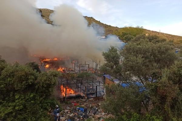 Φωτιά στη δομή προσφύγων στη Σάμο!