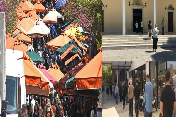 Εναλλακτική «καραντίνα»: Ουρές σε σούπερ μάρκετ, κοσμοσυρροή στις λαϊκές αγορές, άνοιξαν εκκλησία και προσκύνησαν (Video)