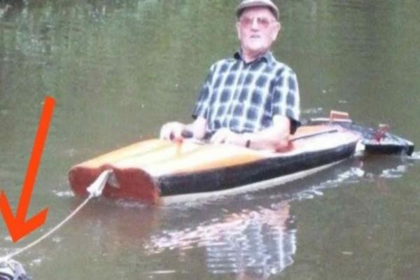 Κάμερα κατέγραφε έναν παππού μέσα σε μια βάρκα...Όταν δείτε τι τον τραβούσε θα μείνετε άφωνοι