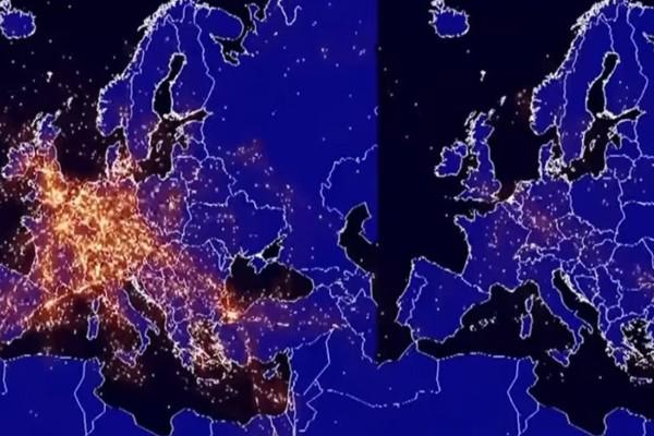 Το πριν και το μετά: Η δραματική μείωση στις πτήσεις πάνω από την Ευρώπη λόγω κορωνοϊού (video)