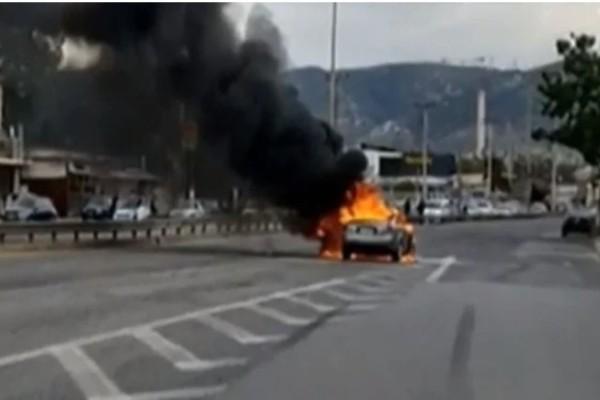 Εθνική Οδός Αθηνών – Κορίνθου: Αυτοκίνητο τυλίχθηκε στις φλόγες