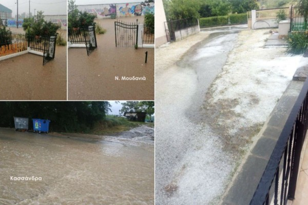 Κακοκαιρία: Πλημμύρες και προβλήματα σε Χαλκιδική και Θεσσαλονίκη - Δραματική διάσωση άνδρα  στον Λαγκαδά (photo-video)