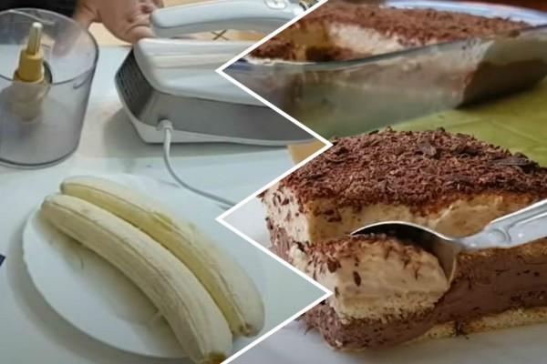 Οικονομικό γλυκό ψυγείου με μπανάνα και σοκολάτα