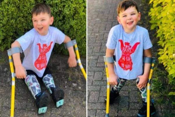 5χρονος ήρωας με προσθετικά πόδια περπάτησε 6 μίλια και συγκέντρωσε 1.000.000 ευρώ για νοσοκομείο (video)