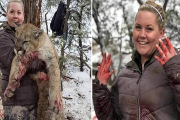 28χρονη πόζαρε περήφανη γεμάτη αίματα με το λιοντάρι που σκότωσε και οι φωτογραφίες της προκαλούν οργή