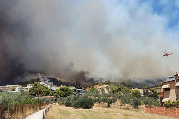 Φωτιά στις Κεχριές Κορινθίας: Εκκενώνεται κατασκήνωση & ο οικισμός Δράσσα
