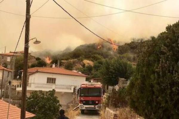 Ανεξέλεγκτη η φωτιά στο Πεταλίδι Μεσσηνίας - Εκκενώνεται οικισμός (Video)