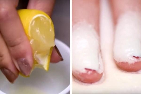 Στύβει 2 λεμόνια και ρίχνει τον χυμό πάνω στα νύχια της. Το αποτέλεσμα; θα σας εκπλήξει!