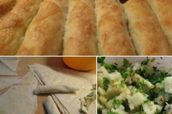 Μπουρέκια γεμιστά με πατάτα και κιμά - Τρώγονται δυο-δυο